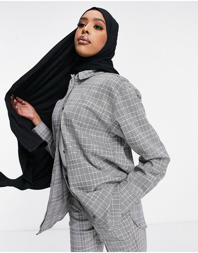 Camicia Multicolore donna Camicia premium da abito a quadri in Principe di Galles - ASOS DESIGN - Multicolore