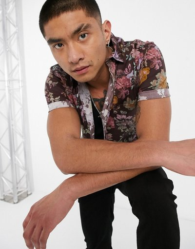 Camicia Marrone uomo Camicia skinny elasticizzata marrone a fiori - ASOS DESIGN