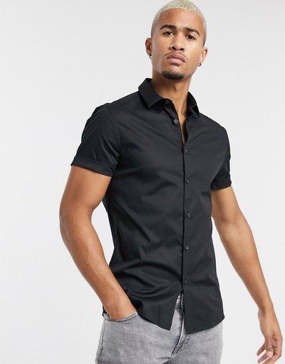 Camicia Nero uomo Camicia skinny stretch nera - ASOS DESIGN - Nero