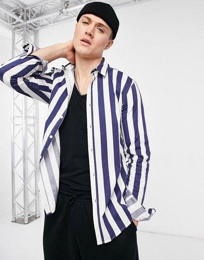 Camicia Blu navy uomo Camicia slim elasticizzata a righe blu navy e bianche - ASOS DESIGN