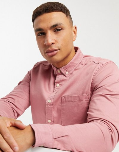 Camicia Rosa uomo Camicia slim in denim organico rosa pallido - ASOS DESIGN