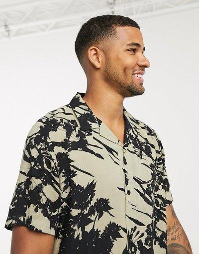 Camicia Crema uomo Camicia vestibilità classica écru con rever e stampa astratta a fiori - ASOS DESIGN - Crema