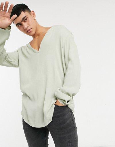 Camicia Verde uomo Camicia vestibilità classica in viscosa stropicciata verde salvia - ASOS DESIGN
