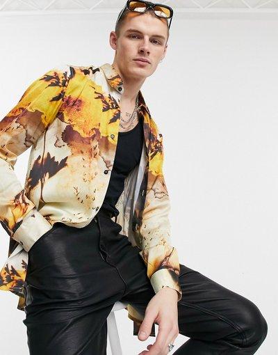 Camicia Giallo uomo Camicia vestibilità classica lunga in raso con stampa a fiori autunnale - ASOS DESIGN - Giallo