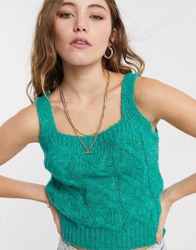 T-shirt Verde donna Canotta in maglia verde a coste in coordinato - ASOS DESIGN