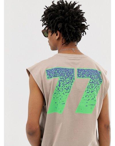 T-shirt Beige uomo Canotta oversize con stampa fluo di numeri - ASOS DESIGN - Beige