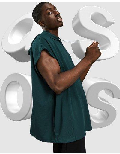 T-shirt Verde uomo Canotta oversize in rete verde con cappuccio - ASOS DESIGN