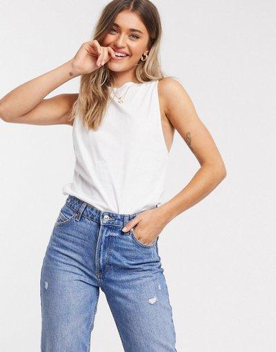 T-shirt Bianco donna Canotta super oversize bianca con schiena scoperta - ASOS DESIGN - Bianco