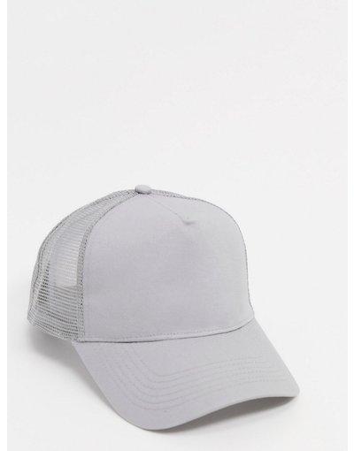Cappello Grigio uomo Cappellino trucker in tela grigio chiaro - ASOS DESIGN