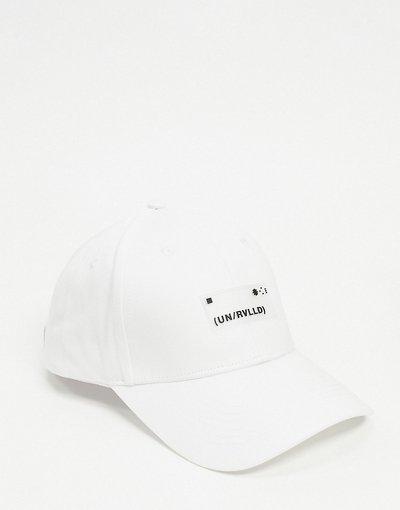 Cappello Bianco uomo Cappello bianco con visiera e logo gommato - ASOS DESIGN