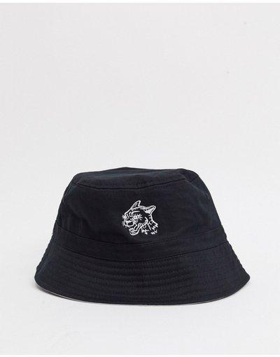 Cappello Nero uomo face con pantera ricamata colore nero - Cappello da pescatore double - ASOS DESIGN