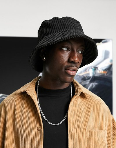 Cappello Nero uomo Cappello da pescatore nero a coste - ASOS DESIGN