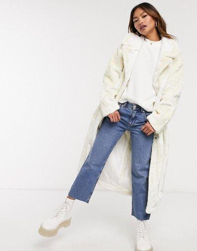 Bianco donna Cappotto lungo in soffice pelliccia ecologica crema - ASOS DESIGN - Bianco