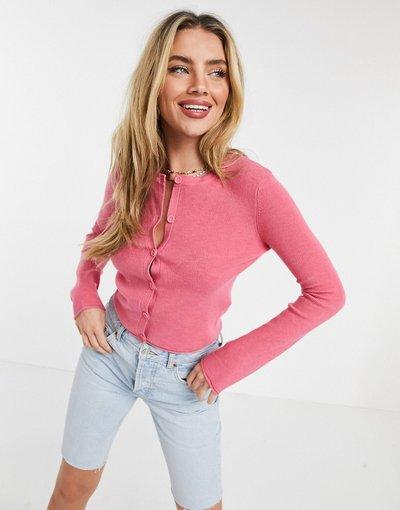 Maglione cardigan Giallo donna Cardigan girocollo rosa acceso - ASOS DESIGN - Giallo
