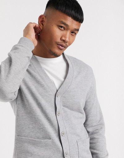 Grigio uomo Cardigan in jersey grigio mélange - ASOS DESIGN