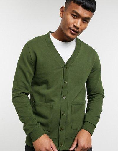 Verde uomo Cardigan in jersey verde scuro - ASOS DESIGN