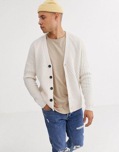 Crema uomo Cardigan in maglia a coste color avena - ASOS DESIGN - Crema