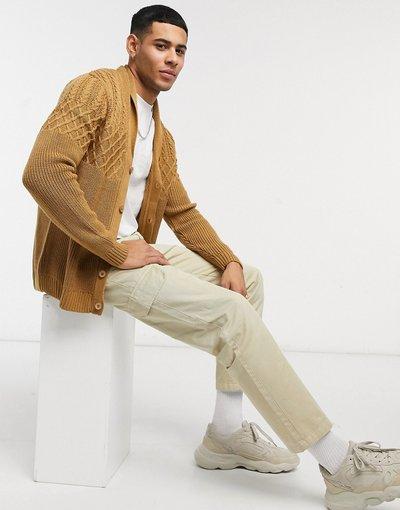 Cuoio uomo Cardigan in maglia a trecce color cuoio con collo sciallato - ASOS DESIGN