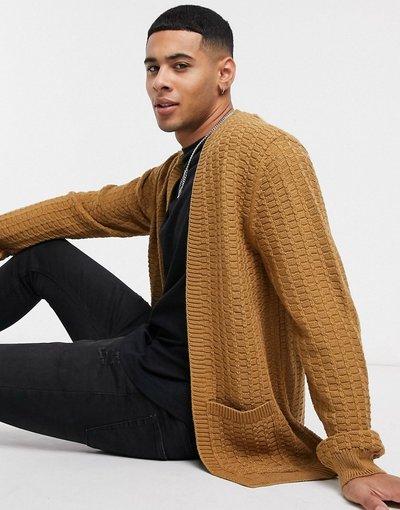 Cuoio uomo Cardigan in maglia a trecce fil - fil color cuoio - ASOS DESIGN - à