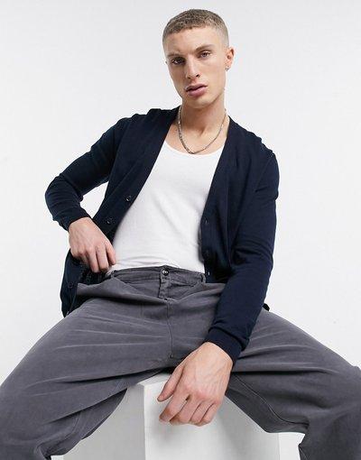 Blu navy uomo Cardigan in maglia di cotone blu navy - ASOS DESIGN