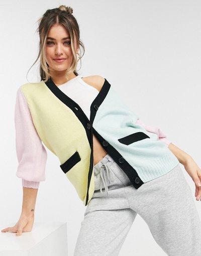 Multicolore donna Cardigan lungo color block - ASOS DESIGN - Multicolore