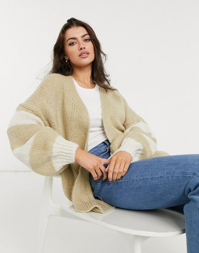 Maglione cardigan Grigio pietra donna Cardigan oversize a righe color cammello - Grigio pietra - ASOS DESIGN