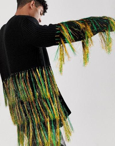 Multicolore uomo Cardigan oversize in maglia nera con frange fluo - ASOS DESIGN - Multicolore