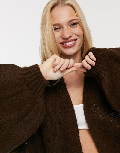 Maglione cardigan Pietra donna Cardigan oversize marrone - ASOS DESIGN - Pietra
