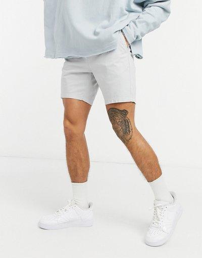 Grigio pietra uomo Chino corti skinny con vita elasticizzata grigio chiaro - Grigio pietra - ASOS DESIGN
