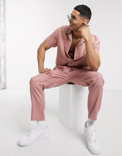 Rosa uomo Pantaloni eleganti affusolati in lino rosa - ASOS DESIGN Co - ord