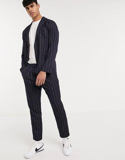 Navy uomo Pantaloni slim corti blu navy a righe - ASOS DESIGN Co - ord