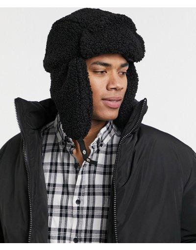 Cappello Nero uomo Colbacco nero in pile borg - ASOS DESIGN