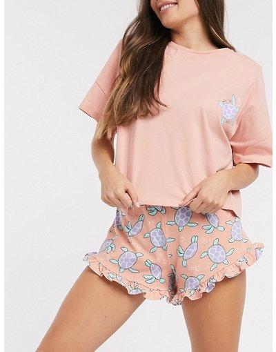 Pigiami Rosa donna Completo pigiama con pantaloncino corto a volant e maglietta con tartaruga e scrittaWhat the shellpesca - ASOS DESIGN - Rosa