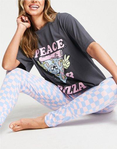 Pigiami Multicolore donna shirt oversize con scrittaPeace Pizzae leggings grigio, blu e rosa - Completo pigiama con t - ASOS DESIGN - Multicolore