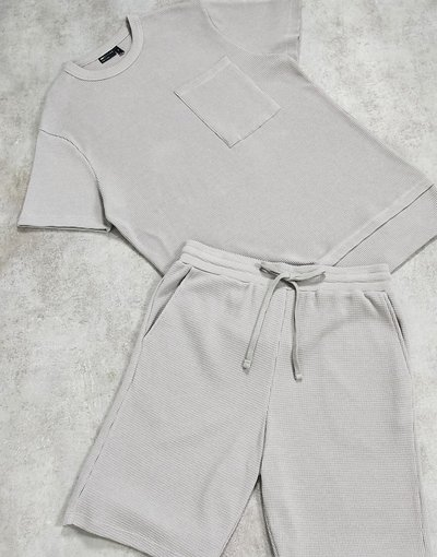 Pigiami Grigio uomo shirt e pantaloncini in tessuto a nido d'ape grigio - Completo pigiama da casa con T - ASOS DESIGN