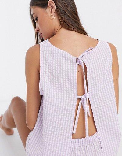 Pigiami Viola donna shirt e pantaloncini a quadretti lilla - ASOS DESIGN - Completo T - Viola