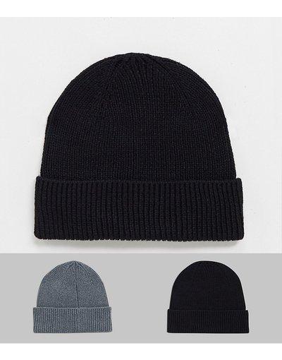 Cappello Multicolore uomo Confezione da 2 berretti da pescatore grigio e nero - ASOS DESIGN - Multicolore - Risparmia