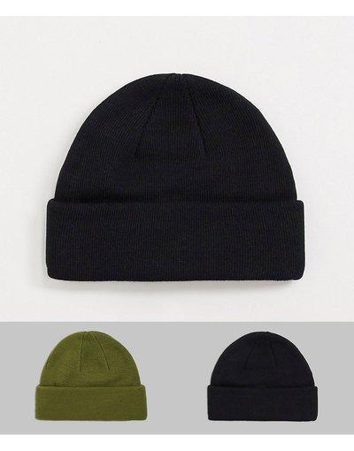Cappello Multicolore uomo Confezione da 2 berretti da pescatore mini nero e kaki attorcigliato - ASOS DESIGN - Multicolore