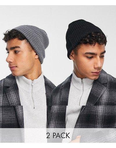 Cappello Multicolore uomo Confezione da 2 berretti flosci grigio e nero - ASOS DESIGN - Multicolore - RISPARMIA