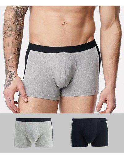 Calze Grigio uomo Confezione da 2 boxer aderenti cut and sew grigio mélange e nero - ASOS DESIGN