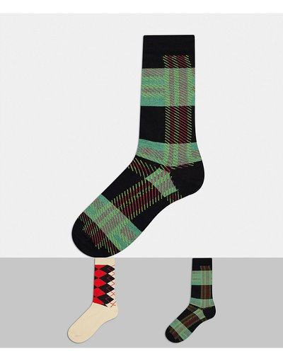 Intimo Multicolore uomo Confezione da 2 calzini alla caviglia con fantasia argyle sgargiante - ASOS DESIGN - Multicolore