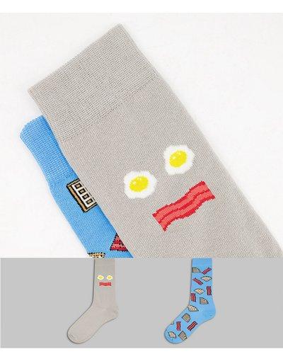 Intimo Bianco uomo Confezione da 2 calzini alla caviglia con stampa uova e bacon - ASOS DESIGN - Bianco