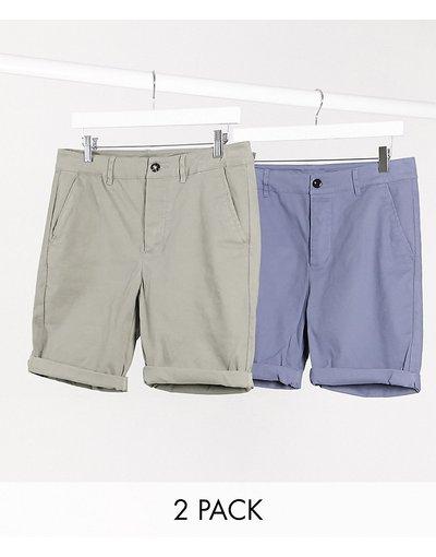 Multicolore uomo Confezione da 2 chino corti super skinny kaki e blu - ASOS DESIGN - Multicolore - Risparmia