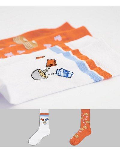 Calze Multicolore uomo Confezione da 2 paia di calzini corti con pancake - ASOS DESIGN - Multicolore