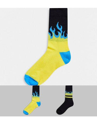 Intimo Multicolore uomo Confezione da 2 paia di calzini sportivi con fiamme blu e gialle - ASOS DESIGN - Multicolore