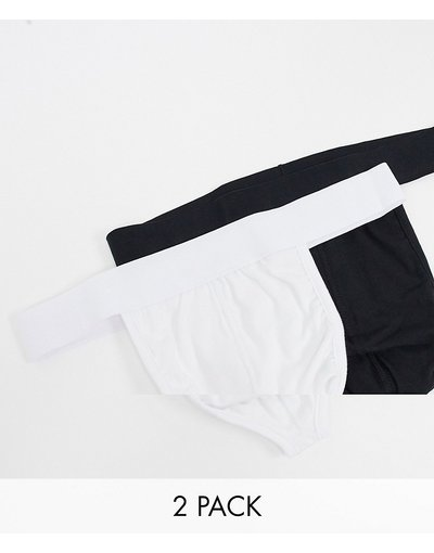 Calze Multicolore uomo Confezione da 2 paia di perizomi nero e bianco - ASOS DESIGN - Multicolore