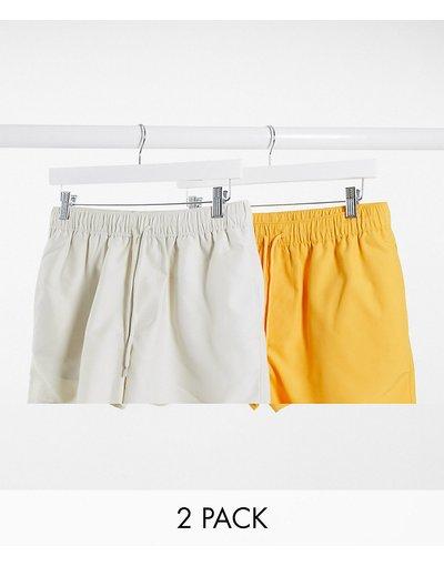Costume Multicolore uomo Confezione da 2 pantaloncini da bagno corti beige e gialli - ASOS DESIGN - Multicolore