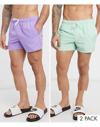 Costume Multicolore uomo Confezione da 2 pantaloncini da bagno corti lilla e verde pastello - ASOS DESIGN - Multicolore - Risparmia