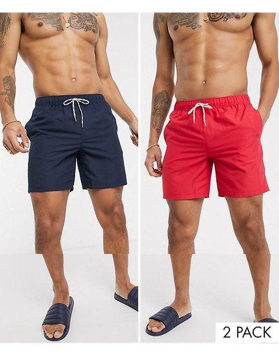 Costume Multicolore uomo Confezione da 2 pantaloncini da bagno medi blu navy e rossi - ASOS DESIGN - Multicolore - Risparmia