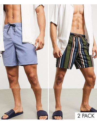 Costume Multicolore uomo Confezione da 2 pantaloncini da spiaggia lunghezza media a righe - ASOS DESIGN - Multicolore